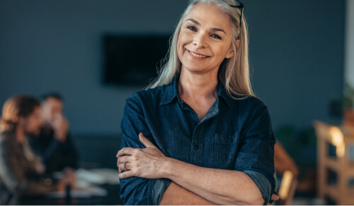 Older woman smiling confidently