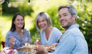 Friends eating outside